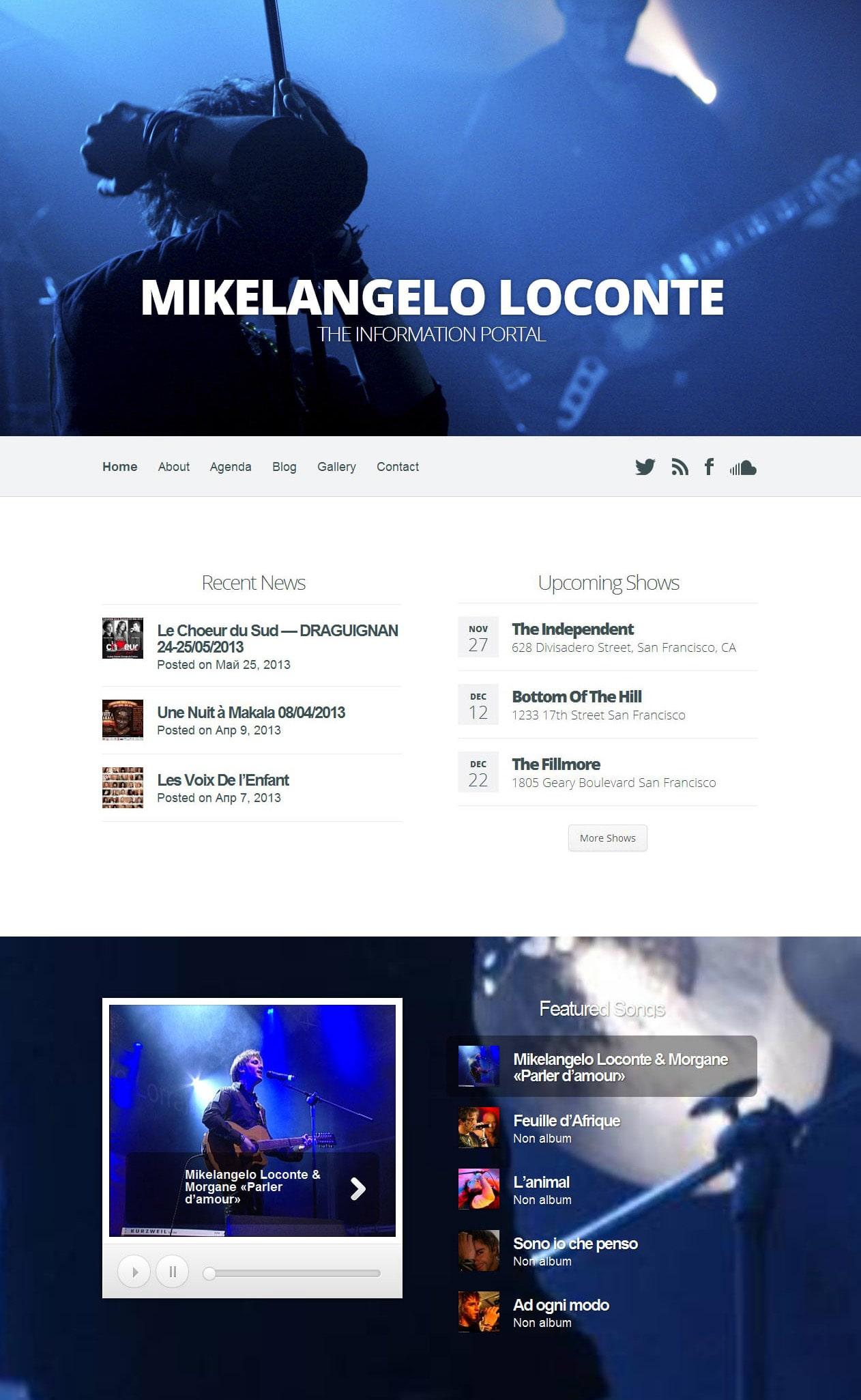 Создание официального сайта музыканта и актёра на заказ